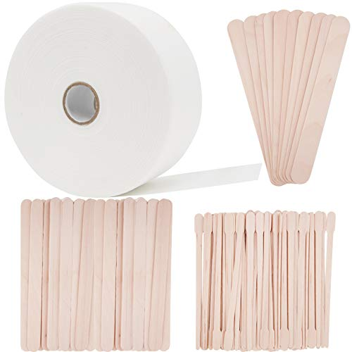 BQTQ Wax Strips Wax Applicator Sticks Kit Including 1 Roll Non-woven Waxing Strip and 90 Pcs Wooden Waxing Sticks for Body Facial Nose Eyebrow Hair Removal, 2.75 Inch x 55 Yards