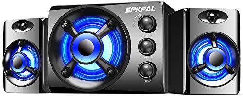Computer Lautsprecher mit Subwoofer,USB-betriebenes 2.1-Multimedia-Lautsprechersystem, 3,5 mm AUX-Eingang mit LED-Atmosphäre Licht, Stereo, kabelgebunden, Desktop-Lautsprecher für PC