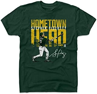 メジャーリーグ オークランド・アスレチックス スティーブン・ピスコッティ 500Level Player Art Cotton T-Shirt (グリーン)