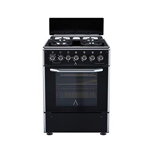 ALPHA Cocina de Gas VULCANO ELITE-60 Cristal Negro. Encendido automático y temporizador en horno. **Alta Gama**
