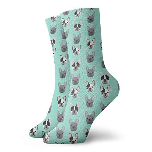 Colin-Design Frenchie Dog Französische Bulldoggen Grau & Schwarz & Weiß Frenchies Personalisierte Socken Sport Athletic Strümpfe 30,5 cm Crew Socken für Männer Frauen
