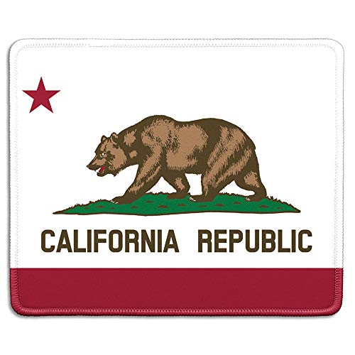 dealzEpic - Art Mousepad - Natural Rubber Mouse Pad Printed with Flag of California - Stitched Edges - 9.5x7.9 inches