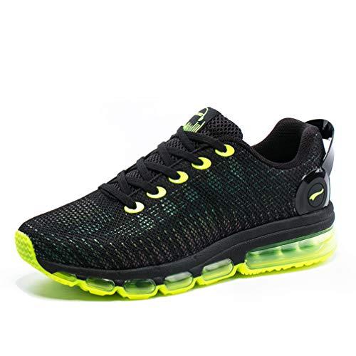 ONEMIX Herren Damen Laufschuhe Luftpolster Sportschuhe Straßenlaufschuhe Sneaker Bunte Reflexionen Fitness Walkingschuhe 1216A Black Yellow 43