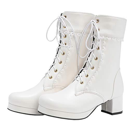 Etebella Damen Lolita Stiefeletten Blockabsatz Ankle Boots zum Schnüren mit Spitze und Plateau Süße Cosplay Boots Schuhe (Weiß,39)