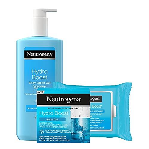 Neutrogena Hydro Boost Alltags-Pflegeset für Körper und Gesicht - Bodylotion Gel 400ml, Aqua Gel 50ml & 25 Reinigungstücher - Feuchtigkeitspflege mit Hyaluron für normale...