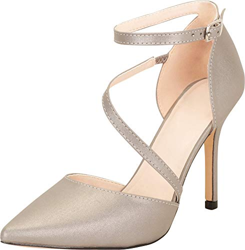 Cambridge Damen Stiletto High Heel Kleid Pumps Select, spitz zulaufender Zehenbereich, Silber (Aus Zinn.), 38.5 EU