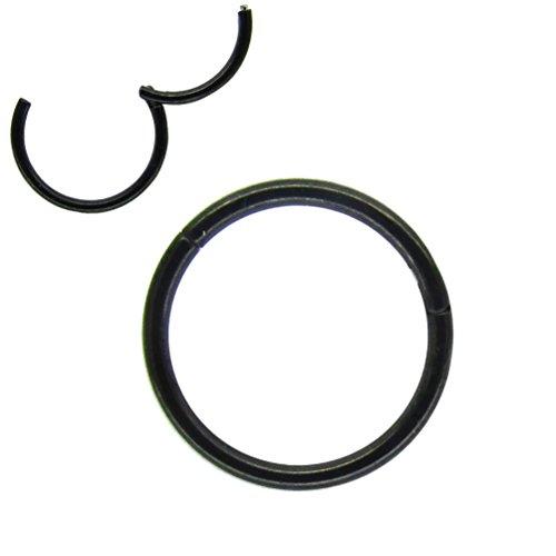 NewkeepsR 20G 8mm (5/16'') Anodizado Negro abisagrado Bisagra Anillo de aro 316L Acero Sin Costura Segmento Durmiente Pendientes Perforación