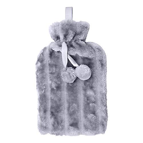 Alecony Wärmflasche mit Weichem Bezug, 1.8L Nackenwärmflasche für Kinder Erwachsene, Abnehmbare & Waschbare Bettflasche Warmwasser Tasche Groß Plüsch Kuschel für Nacken Schulter Bauch Rücken (A)