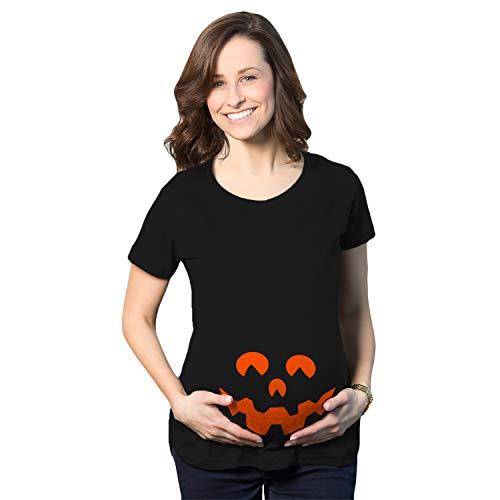 Crazy Dog Tshirts - Maternity Cartoon Eyes Pumpkin Face T Shirt Halloween Fall October Pregnancy Tee (Black) - XXL - Femme
