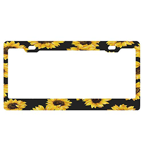FunnyLpopoiamef Sunflower Pattern Aluminum Metal License Plate Cover Licenses Plate Covers for Vehicles