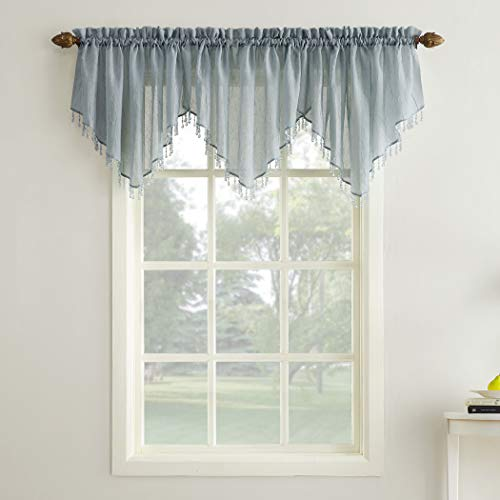No. 918 35048  Erica Crushed Texture Sheer Voile Beaded Ascot Rod Pocket Curtain Valance, 51' x 24', Charcoal