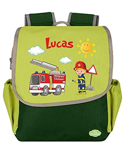 Mein Zwergenland Kindergartenrucksack Happy Knirps Next mit Name Feuerwehr, 6L, Grün