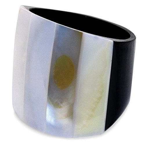 JOE COOL Ring Striped 20mm Made with Resin & Mother of Pearl