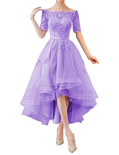 Lavender High Low Off-the-shoulder Tulle Wedding Dress