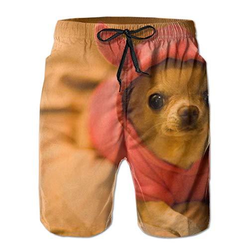 LarissaHi Pantalones Cortos para Hombre deprimidos con Estampado de Chihuahua Trajes de baño Ropa de Playa Trajes de baño Pantalones Cortos de Golf M