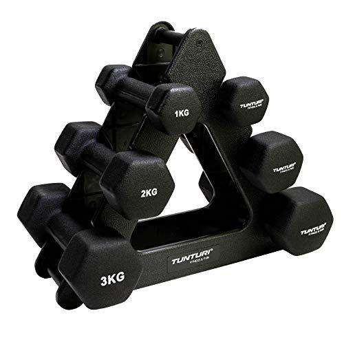 Tunturi 6er Set Kurzhanteln mit Rack, Hantelset mit je 2 x 1 kg, 2 kg, 3 kg, Kurzhantelset, Hanteln aus Gusseisen