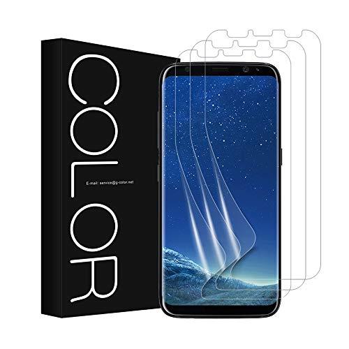 G-Color Pellicola Galaxy S8, [3 Pezzi] Trasparente Pellicola in TPU [Anti-Bolla Errore Proof] Compatibile con Maggiore Custodia per Samsung Galaxy S8