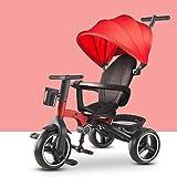 GCXLFJ Triciclo Bebe Infantil 4 En 1 Plegable Triciclo,1-6 Años De Edad Niño Rojo Sombrilla Triciclo,Ajustable con Asa Triciclo,3 Colores (Color : Rosso)