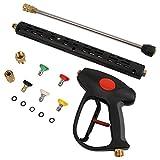 Pistolet de lavage haute pression avec rallonge de tige de rechange de 40,5 cm | Raccord M22 | 5 buses | 107 cm | 4000 PSI