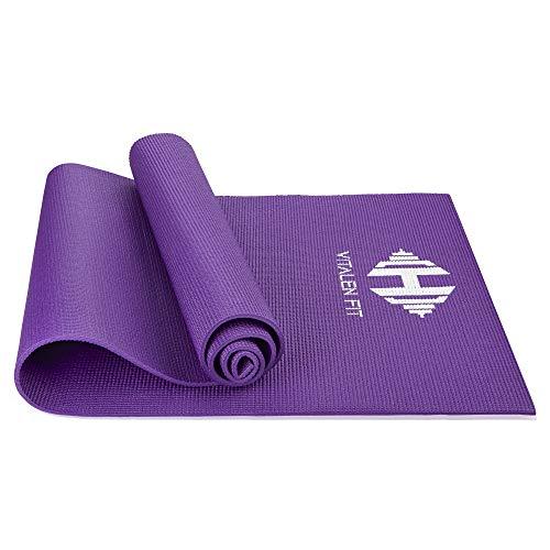 Premium Yogamatte  Gymnastikmatte  Fitnessmatte  Rutschfest und strapazierfähig  Nachhaltiges TPE  Rutschfest und strapazierfähig  Sportmatte  Vitalen Fit  (Lila)