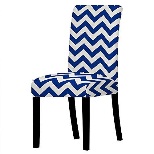 Dining Chair Covers Dark Blue White Waves Chair Covers Room Stretch Chair Covers Kitchen Chair Cover Cushion Easy Chair Cover, 2-Pack Spandex Dining Chair Slipcovers