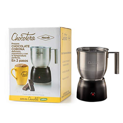 The Original Chocotera Corona   Hot Chocolate and Milk Frother Maker   20.3 Oz Stainless Steel Removable Jug   Ideal to Prepare Corona Traditional Hot Chocolate