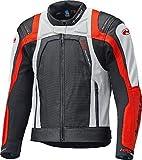 Held - Giacca sportiva touring HASHIRO II per moto da uomo nero-bianco-rosso in pelle bovina con fodera in mesh traspirante, protezioni su spalla e gomiti, polsini in stretch, regolazione bacino (62)