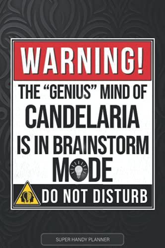 Candelaria: Warning The Genius Mind Of Candelaria Is In Brainstorm mode - Candelaria Name Custom Gift Planner Calendar Notebook Journal