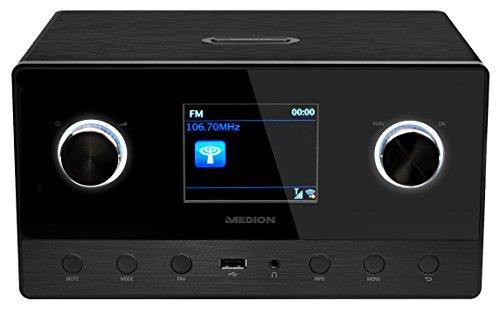 MEDION P85111 WiFi/Wlan Internet Radio mit 2.1 Soundsystem (DAB+, Spotify Connect, Multiroom, UKW, DLNA, Holzgehäuse) schwarz