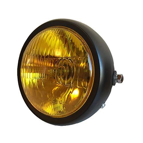 Karun 汎用 12V ヘッドライト ビンテージ バイク ブラック (イエローレンズ)