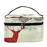 Merry Christmas - Bolsa de maquillaje para viaje, diseño vintage de renos, para mujeres y niñas