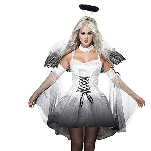 Aiserkly Damen Reizvoll Flügel Satan Engel Geist Schwarz Halloween Kostüm Cosplay Geisterbraut...