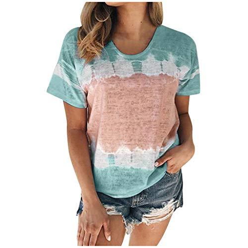 Berimaterry Damen Kurzarm Beiläufige Farbverlauf Print Tunika Bluse Sommer Lose Rundhals T-Shirt Tops Mode Böhmen Lose Strand Shirts Basic Große Größen Sommershirt