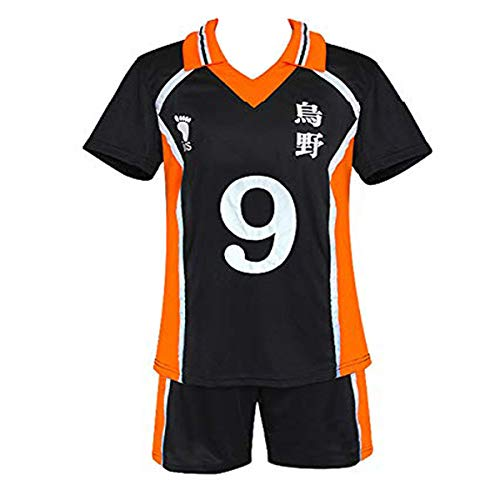 Rickem Haikyuu Cosplay Costume Hinata Shoyo Shirt Shorts Karasuno High School Volleyball Uniform Haikyuu Jersey for Women Men (X-Large, 9-Kageyama Tobio)