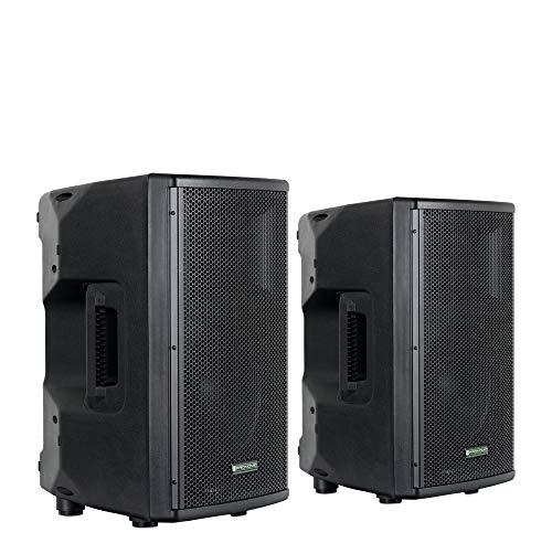 "Pronomic E-210 MA Stereo Set - 2 aktive 2-Wege Boxen - Leistung: 2x 100 Watt (RMS) - 10\"" Woofer + 1,0\"" Kompressions-Treiber - Bluetooth-Empfänger und MP3-Player mit USB/SD - Monitorschräge"