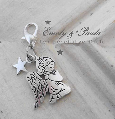 1 Charm Engel Flügel Stern Angel Wings Karabiner Geschenkanhänger Weihnachten