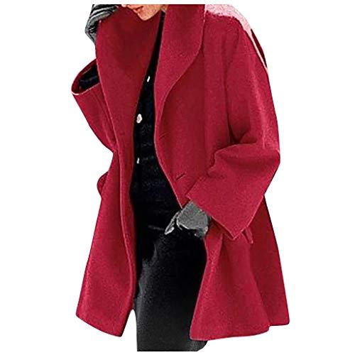PPangUDing Damen Herbst Winter Lang Mantel Jacken Elegante Einfarbig Langarm Oversize Wintermantel Cardigan Outwear Wintermantel Outdoorjacke Funktionsjacke Outwear
