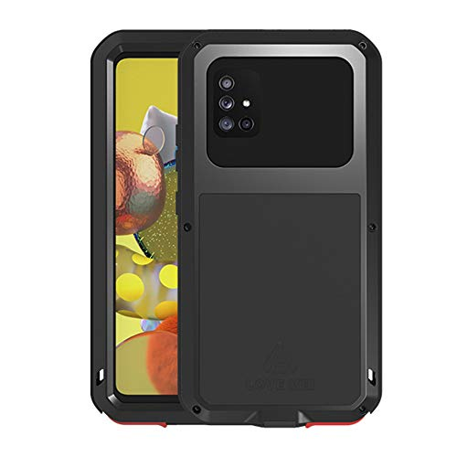 LOVE MEI for Sumsung Galaxy A51 5G Case, Hybrid Aluminum Metal Military Heavy Duty 360 Degree Full Body Protective Shockproof Dustproof Cover Case with Tempered Glass Screen Protector (Black)