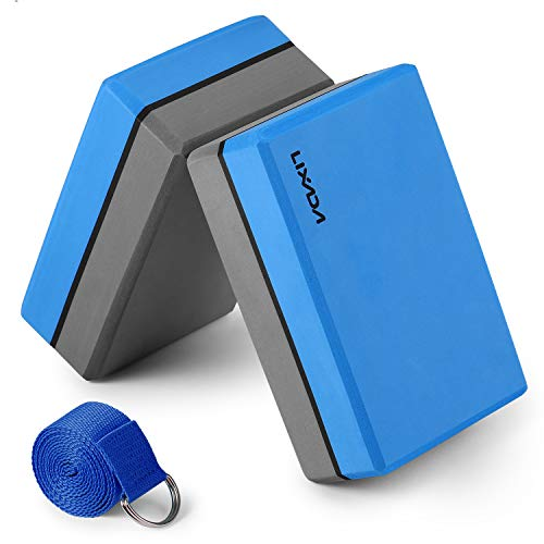 Lixada Bloque de Yoga con Correa de Estiramiento de Yoga Ajustable Accesorio Versátil para Ejercicios de Yoga Pilates (Azul y Gris)