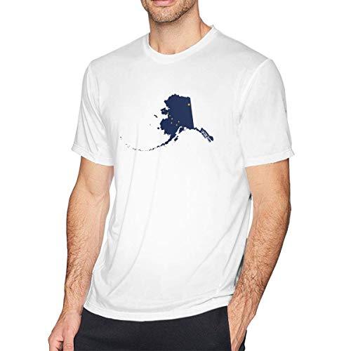 shenguang Camisetas de algodón de Manga Corta con mapas de Alaska y Banderas para Hombre
