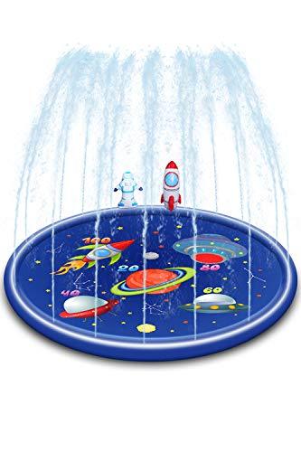 スプラッシュサークル 噴水マット 直径 170cm 噴水プール 子供プール ビニールプール 水遊び おもちゃ 水しぶきマット プレイマット スプラッシュパッド 噴水 暑さ対策 子供用 犬用 家庭用 庭 芝生遊び 屋外用パッド