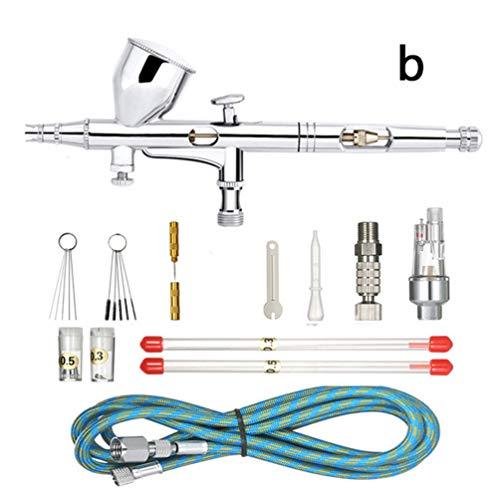 Zaoyun Kit de Pintura Profesional con aerógrafo de la Marca Abest, para Manualidades, proyectos de modelismo, gatillo de acción Dual (0,2-0,3-0,5 mm) (Non-Adjustable Joint + Brush Set)
