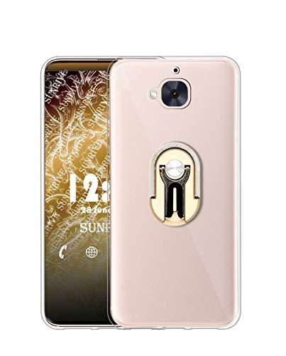 Sunrive Funda para HTC One M9 Plus, Soporte Teléfono Coche Silicona Transparente Gel Carcasa Case Bumper Anti-Arañazos Espalda Cover Anillo Kickstand 360 Grados Giratorio(Dorado)