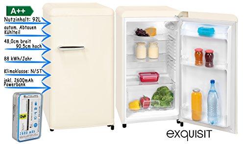 Retro Kühlschrank Vollraum | Kühlschrank Ohne Gefrierfach | 92 Liter Nutzinhalt | LED Innenbeleuchtung | Schicker Retro Türgriff | Weiß | Powerbank 2600 mAh im Lieferumfang enthalten