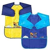 BAHABY - Paquete de 2 batas de pintura para niños con manga larga y 3 bolsillos para niños de 3 a 8 años