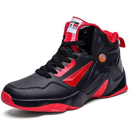 WYEZ Zapatillas de Baloncesto Botas de Entrenamiento de caña Alta para Hombre Zapatillas de Deporte Antideslizantes Absorción de Golpes,Rojo,44