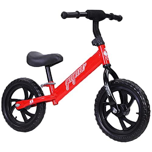 Bicicleta De Equilibrio para Niños De Acero Altamente Carbono, Bicicleta De Entrenamiento De Bebé De 2 A 6 Años, Altura Ajustable, Bicicleta De Balance De Baby Walker No Pedal,Rojo