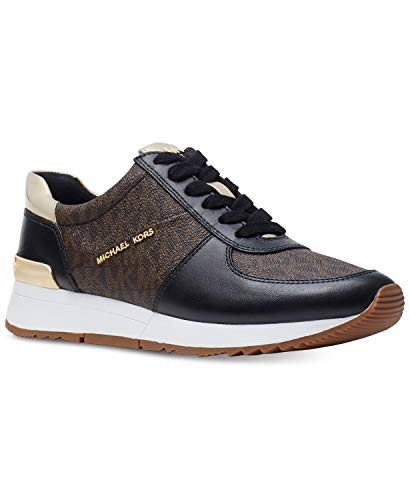 Michael Kors MK Women's Allie Trainer Leather Sneakers Shoes Blk/Brown (5)