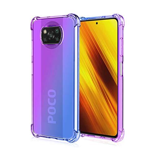 HAOTIAN Hülle für Xiaomi Poco X3 NFC/Poco X3 Pro, Farbverlauf-TPU Handyhülle, [Ecken Verstärken] Weiche Transparent Silikon Soft TPU Hülle Schock-Absorption Durchsichtig Schutzhülle (Lila/Blau)