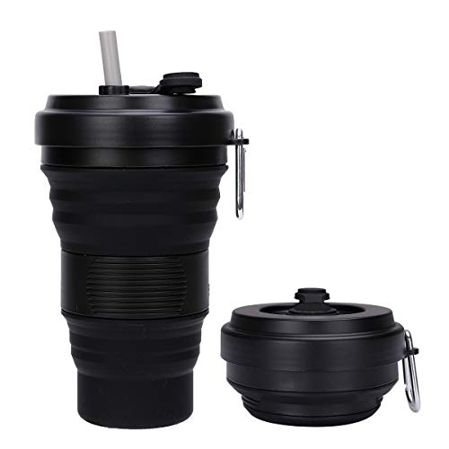 DARUNAXY Collapsible Travel Cup - Silicone Folding Camping Cup Sport Bottle with Lids - Expandable Scald-Proof Drinking Cup - 19 OZ Portable Bottle (Black)